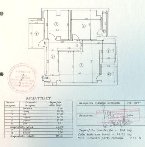 Vanzare 3 camere 79mp, 2 balcoane, loc parcare, Aviatiei